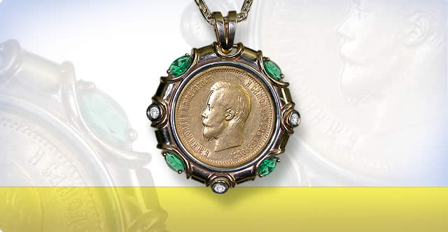 RUSSIAN GOLD COIN JEWELRY. Jewelry with Golden Coins of the Russian Empire