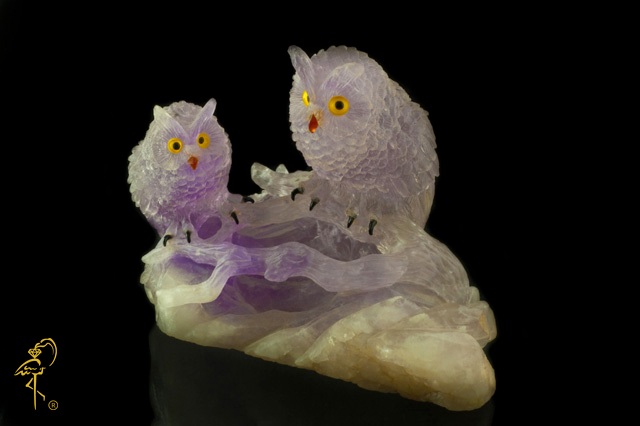 Carving museum: Amethyst Owls