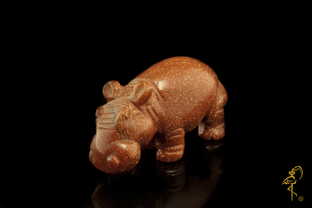 Aventurine hippopotamus from the Carving Museum of the Golden Flamingo Jewelers