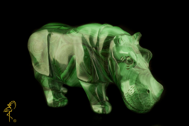 Malachite hippopotamus from the Carving Museum of the Golden Flamingo Jewelers