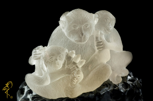 Smokey Quartz monkeys from the Carving Museum of the Golden Flamingo Jewelers
