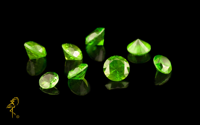 A faceted Russian demantoid from the stock of Golden Flamingo Jewelers