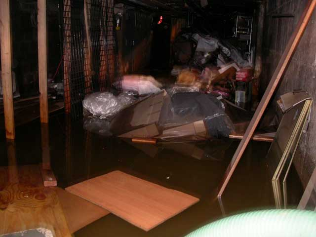 Commercial property in the US. Flooded basement in Brooklyn