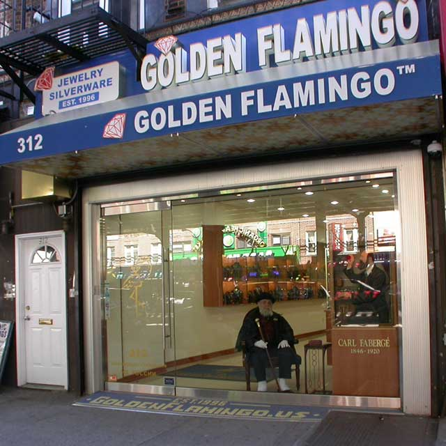 Commercial Real Estate in the USA. Golden Flamingo's store in Brooklyn. Jewelry retail
