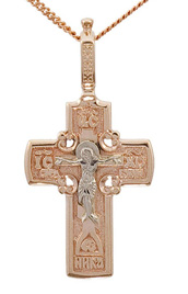 Eastern christian rose and white gold cross necklace