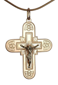 Greek style crucifix cross pendant made of rose gold