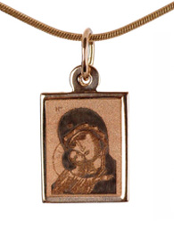 Virgin Mary Panagia Eleousa Russian gold icon necklace