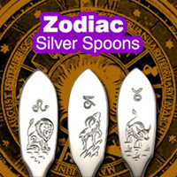 Silver souvenir spoons with signs of the Zodiac