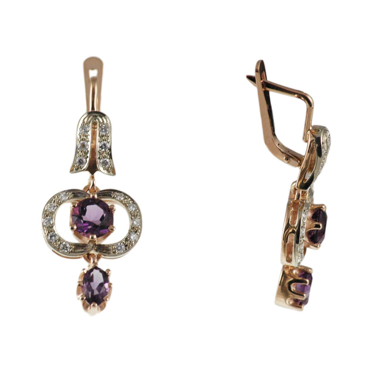 585° two-tone gold amethyst and diamonds earrings 1