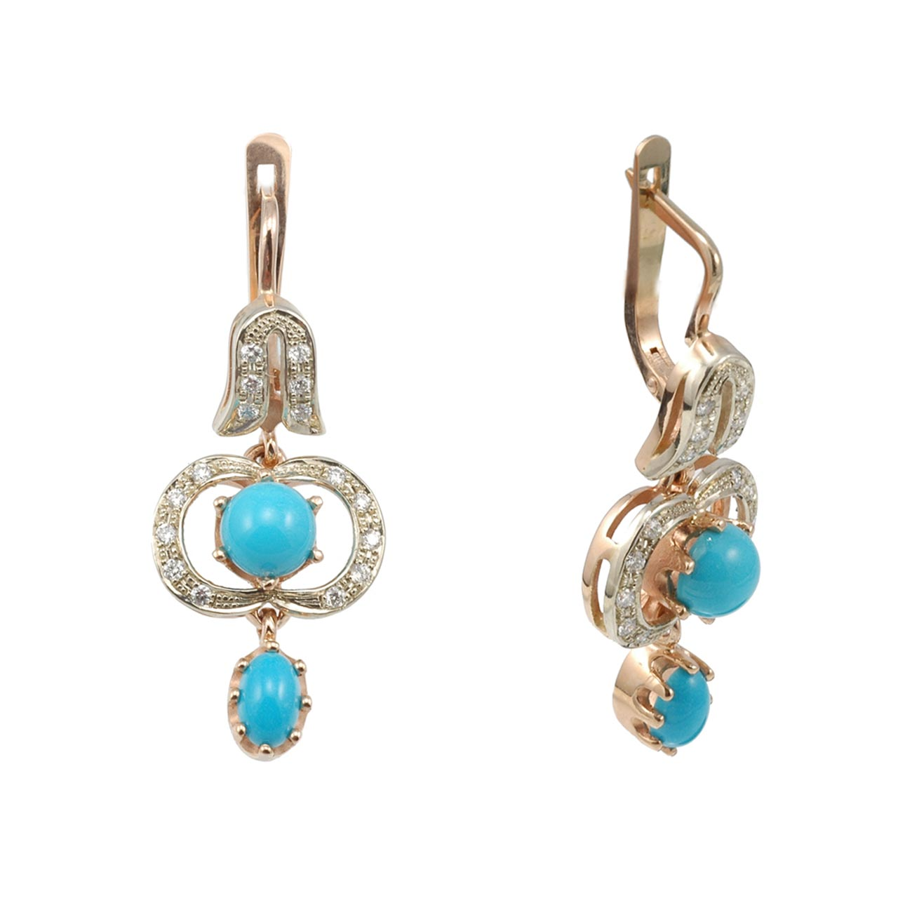 585° two-tone gold, turquoise and diamonds earrings
