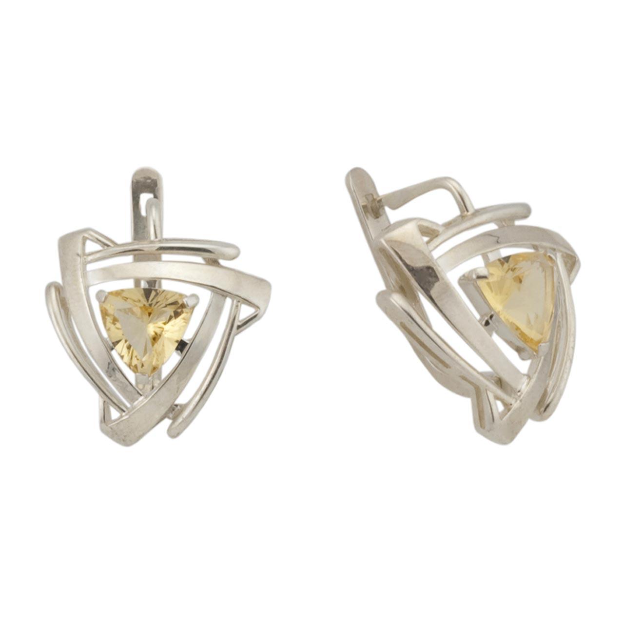 russian silver jewelry citrine silver earrings golden