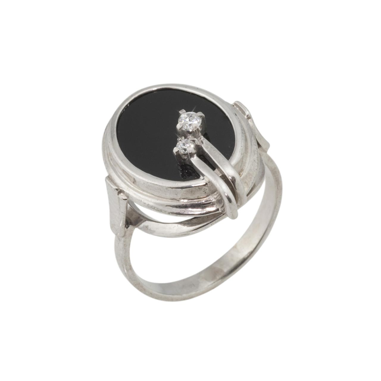 White & Black CZ Silver Ring