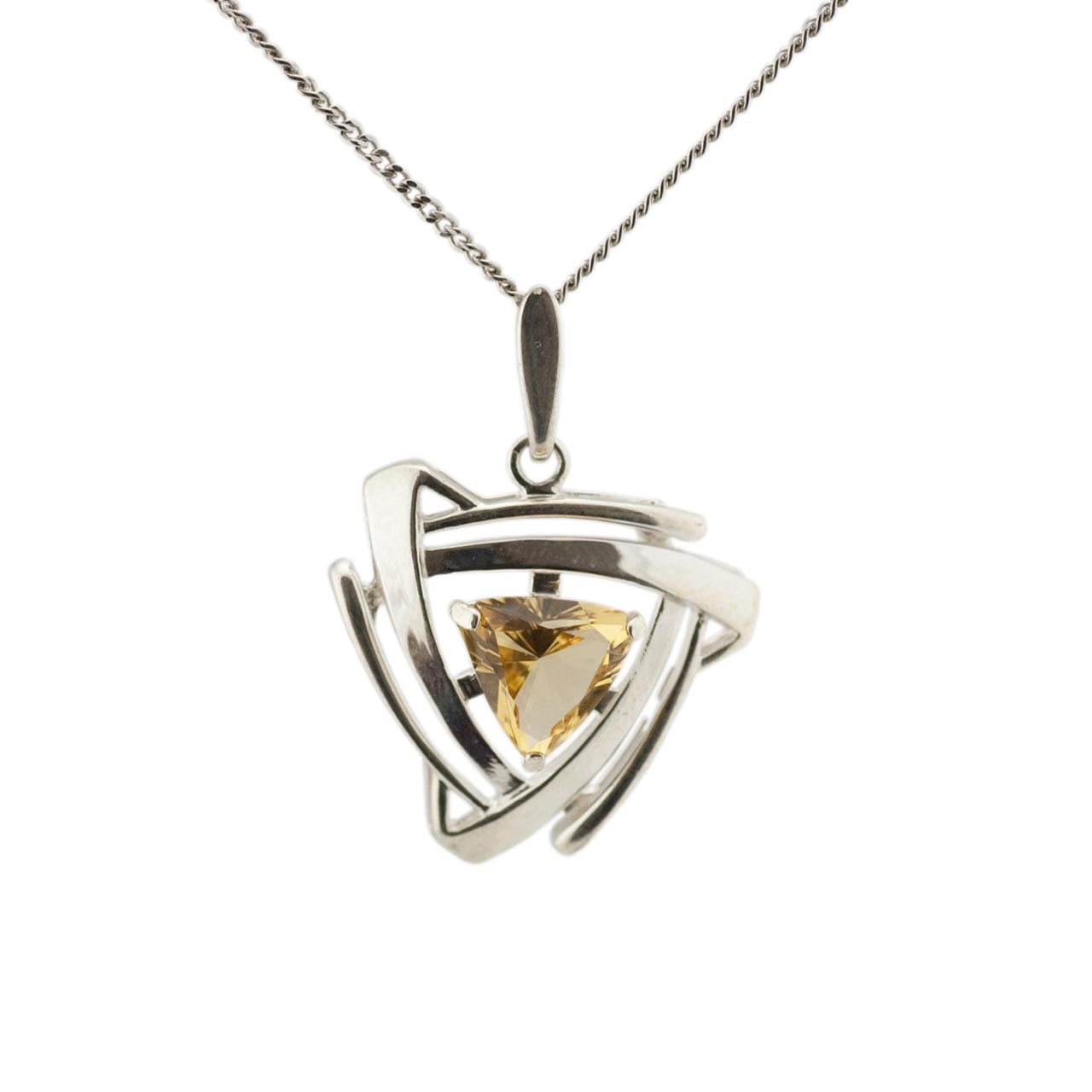 Triangular Shaped Citrine Silver Pendant