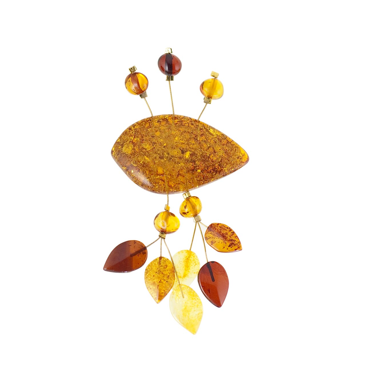 Russian amber long brooch