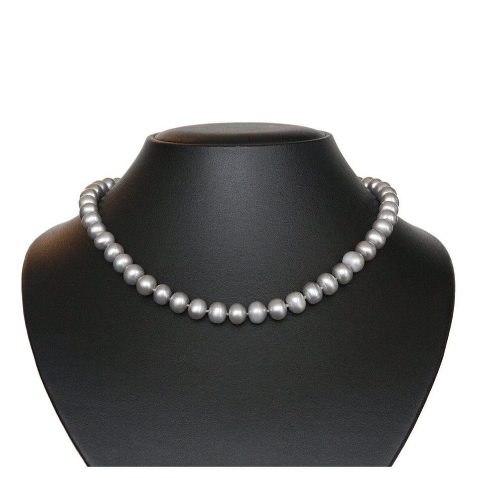 Grey pearl necklace-silver grey pearls 2