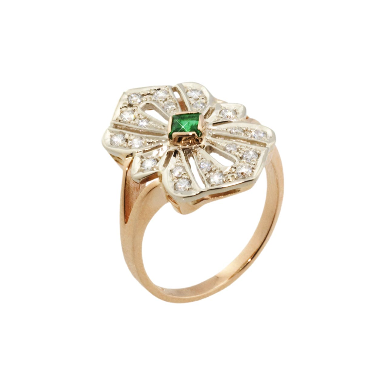 Faberge style emerald ring