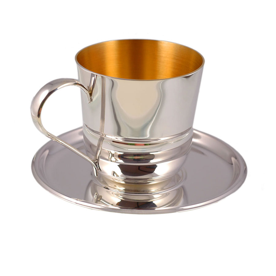 Silver coffee cup and saucer 1