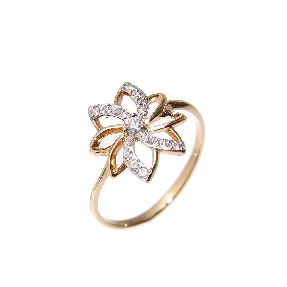 Floral Motif CZ Rose Gold Ring