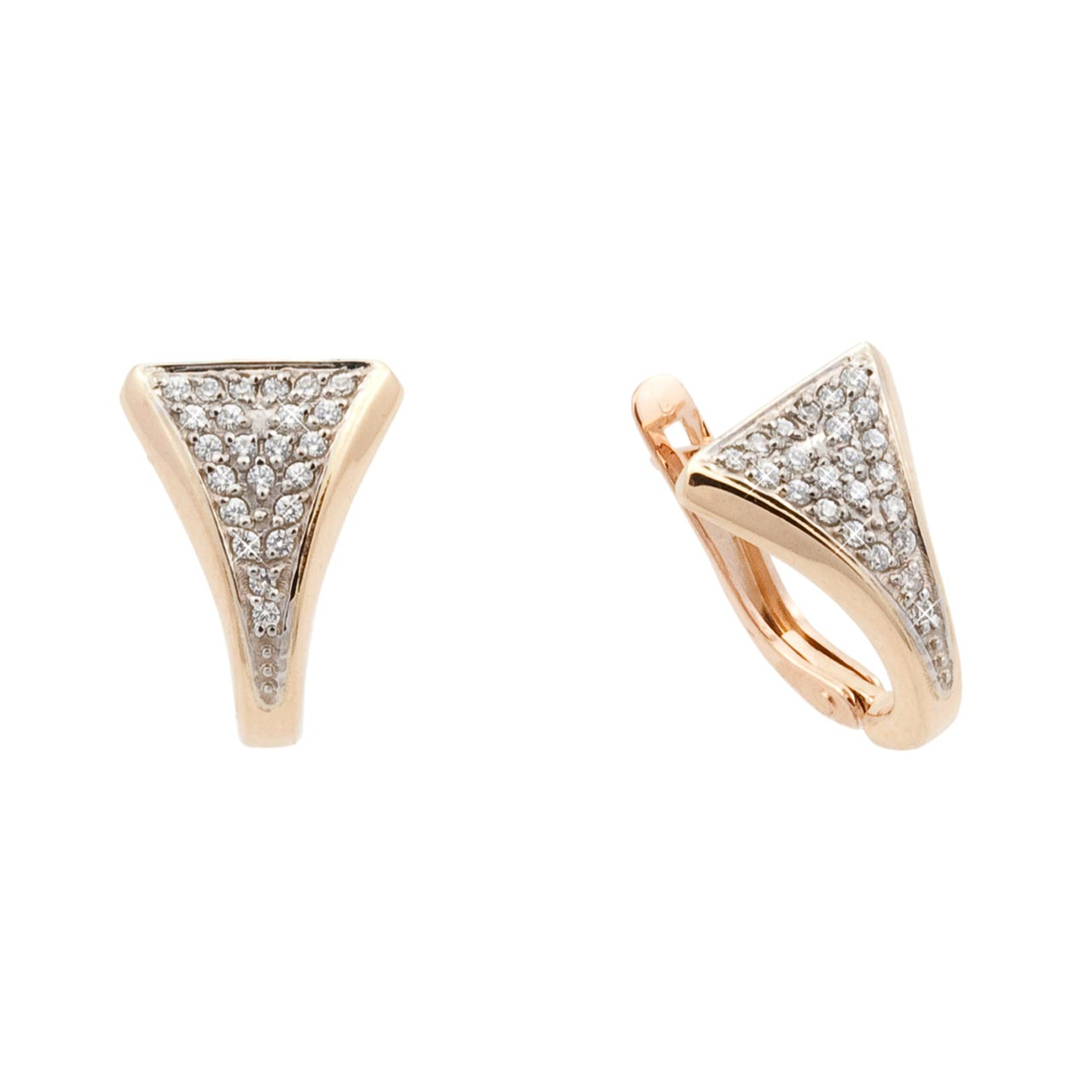 Pavé set CZ two tone gold earrings 1