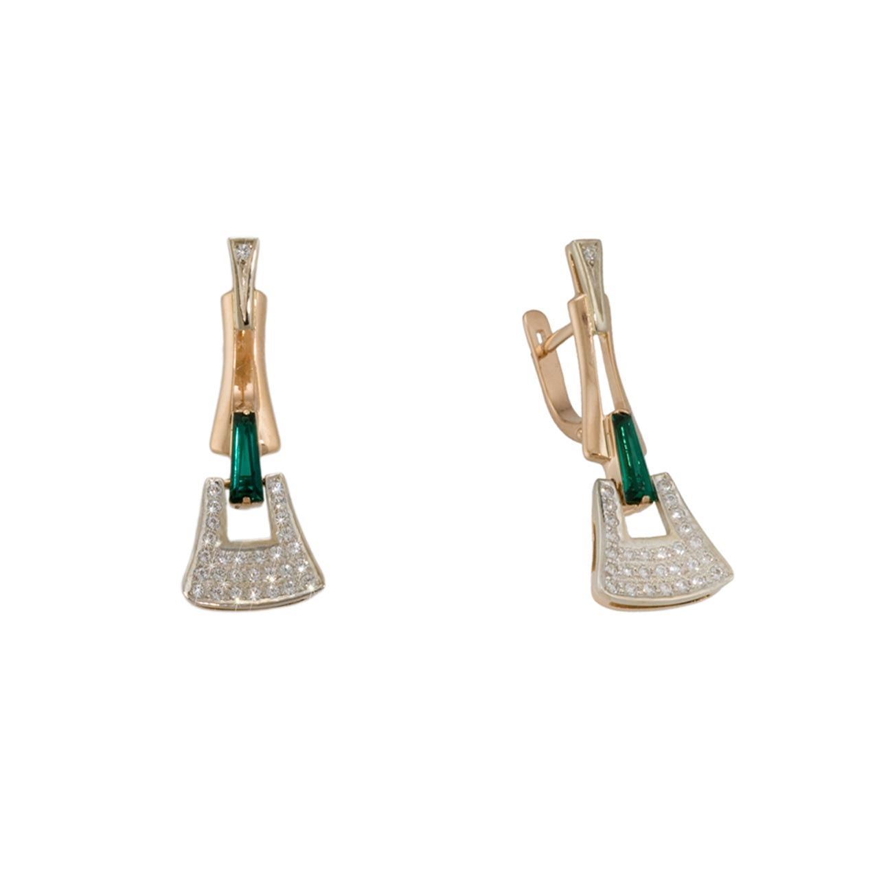 Russian earrings with faux emeralds