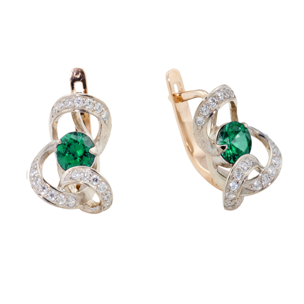 Faux Emerald Russian Gold Earrings