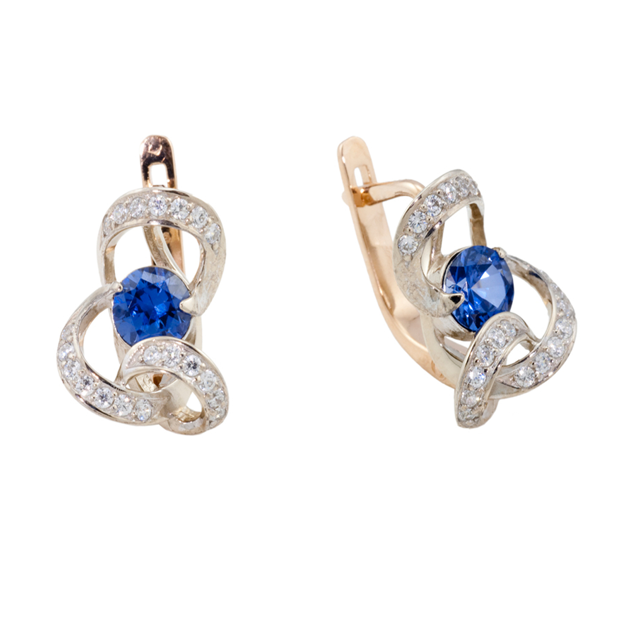 Golden Ribbons Sapphire CZ Earrings