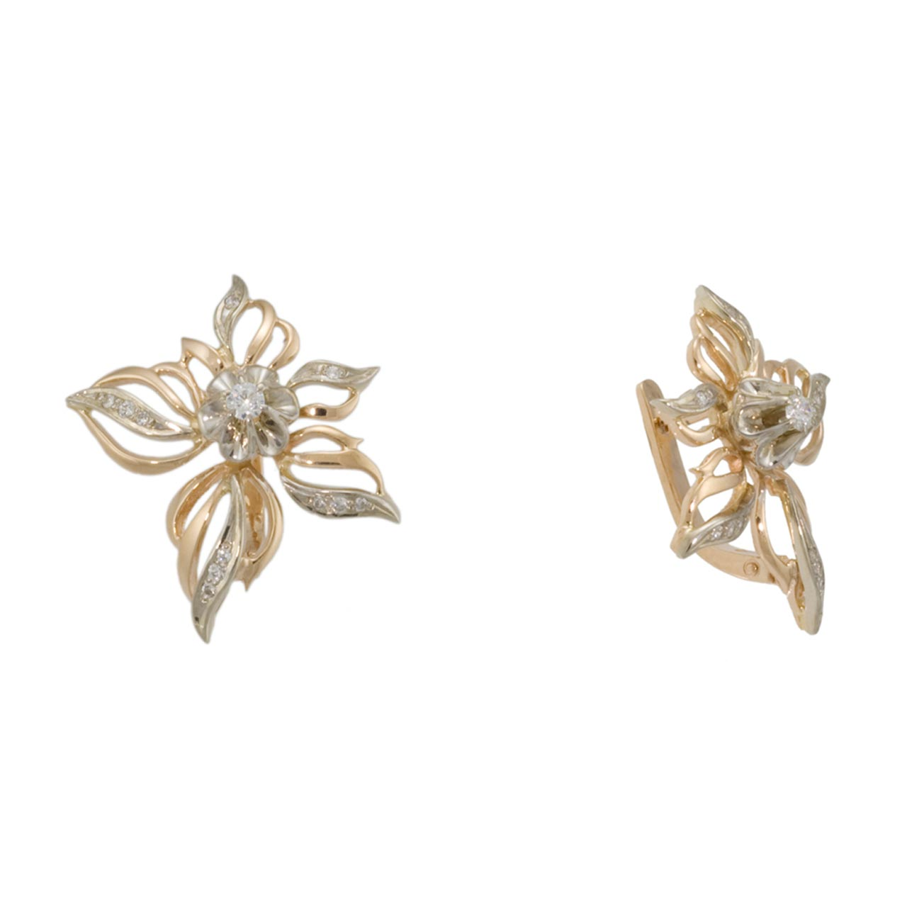 Rose and white gold earrings