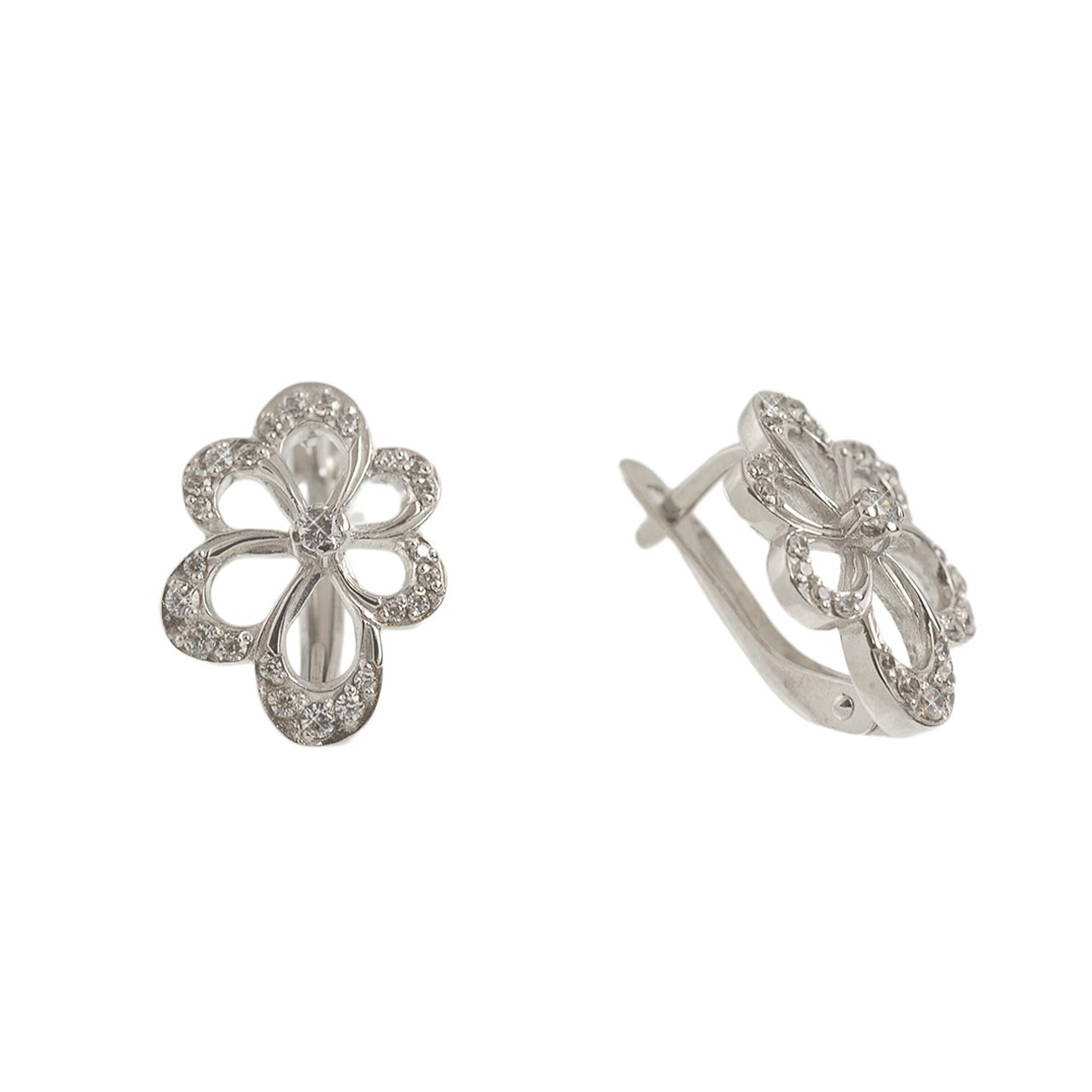Lever-back white gold earrings 1