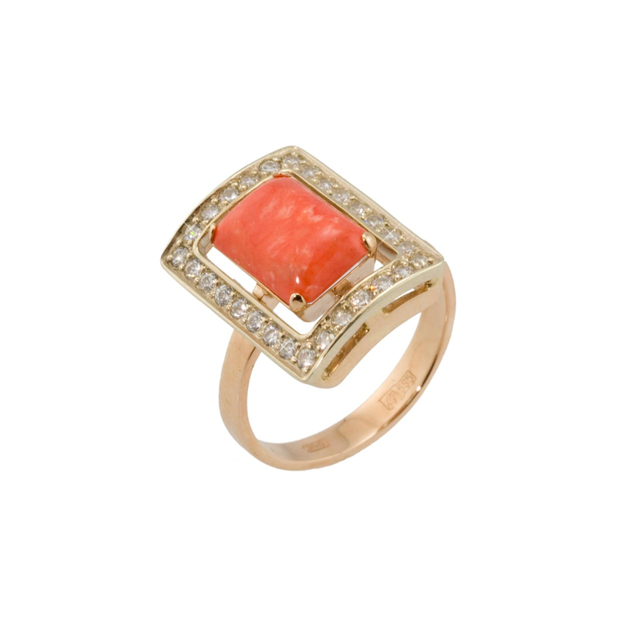 Coral gold ring 1