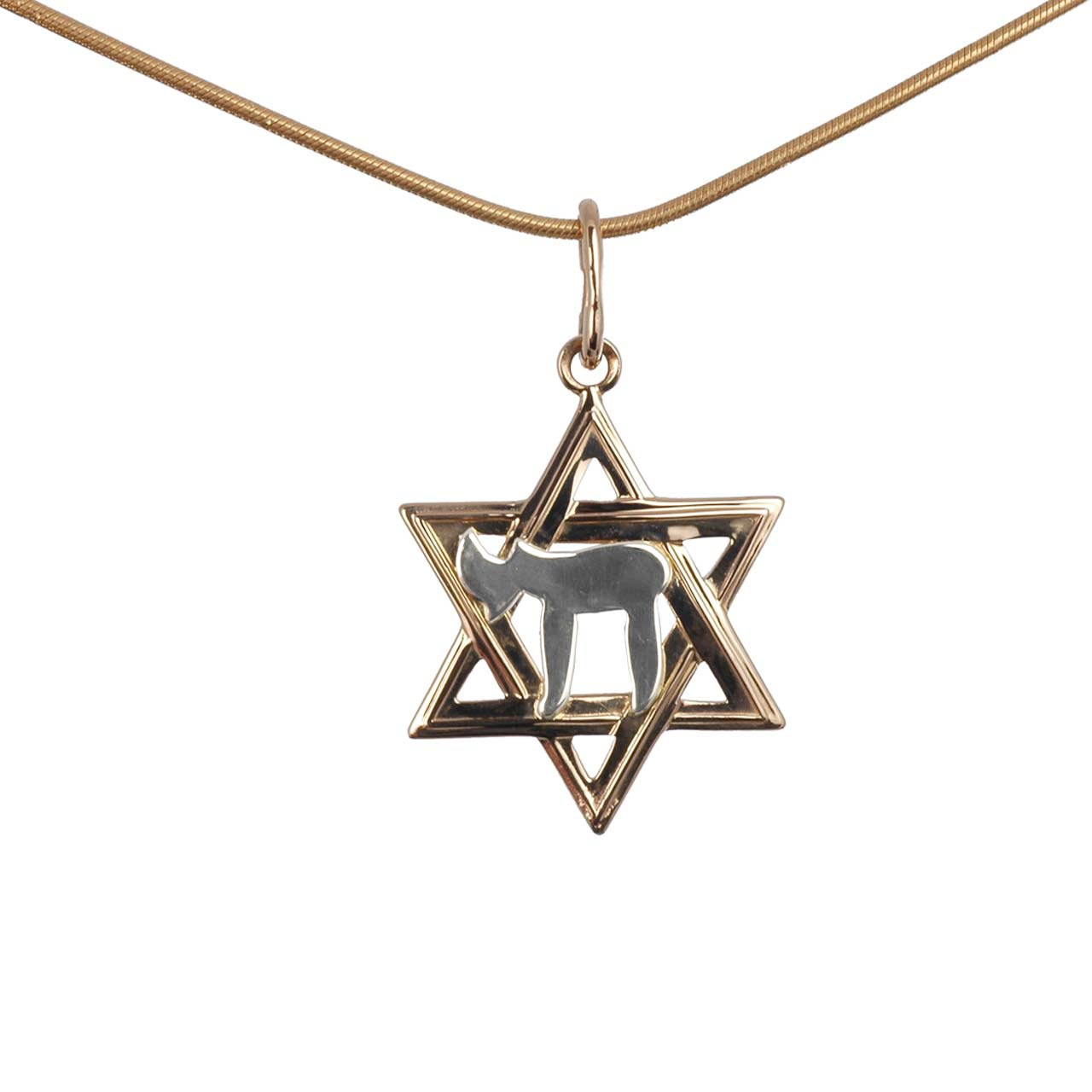 Rose gold Star of David with white gold Chai symbol