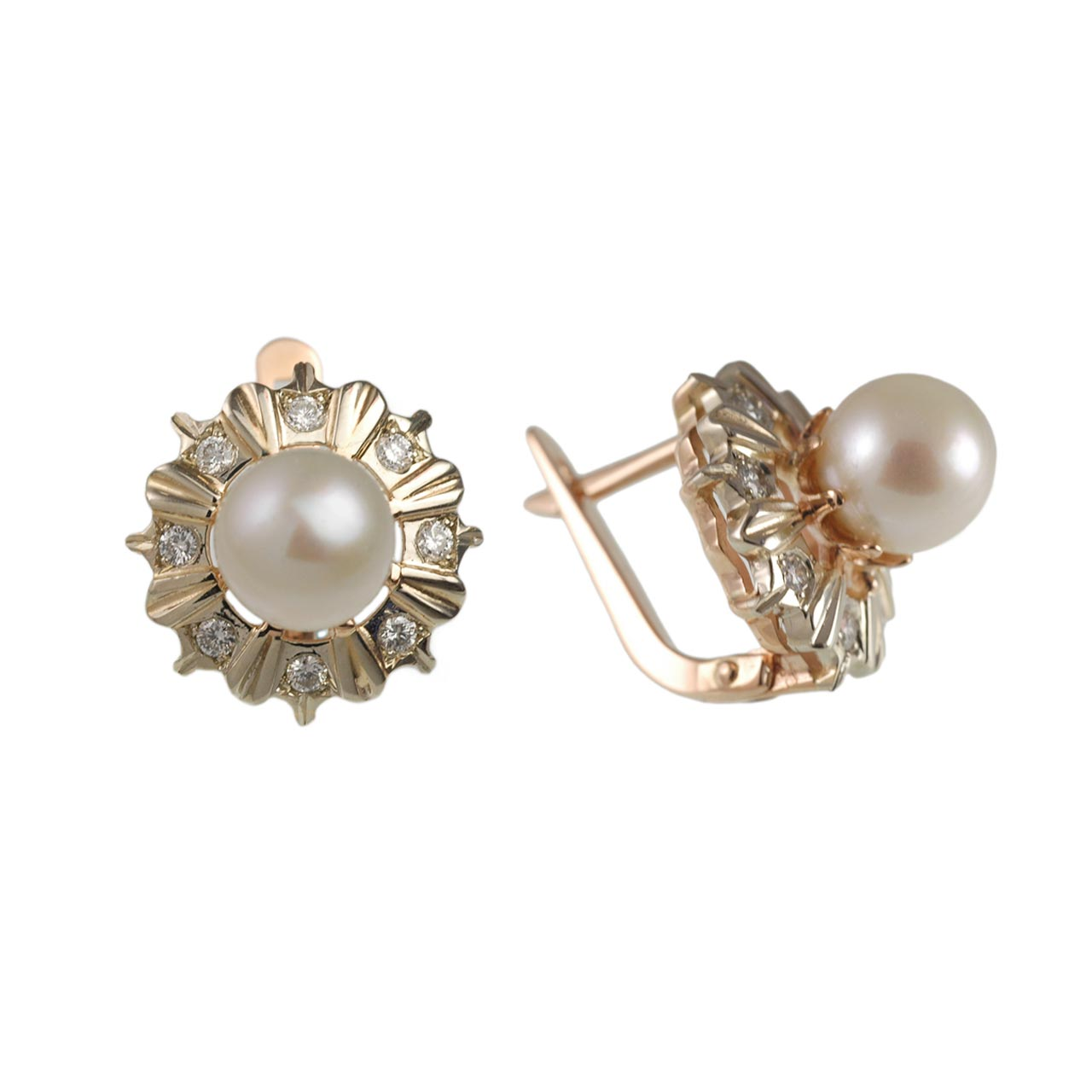 Faberge style grey pearl earrings