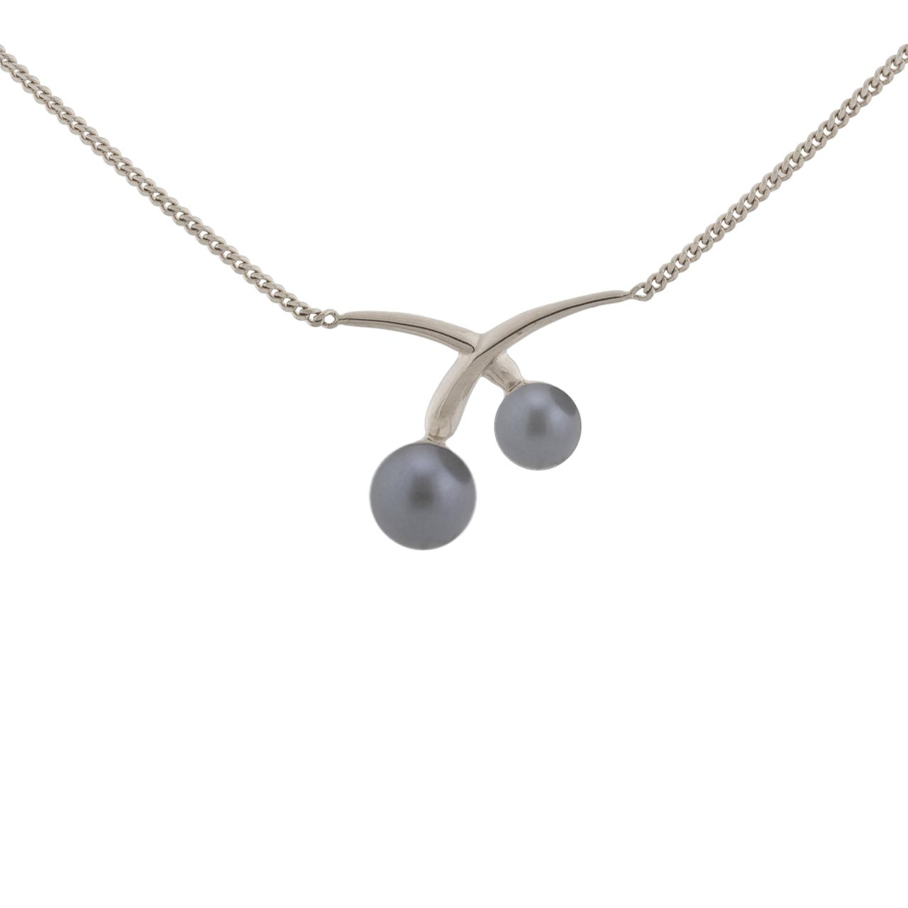Grey pearl white gold necklace 1