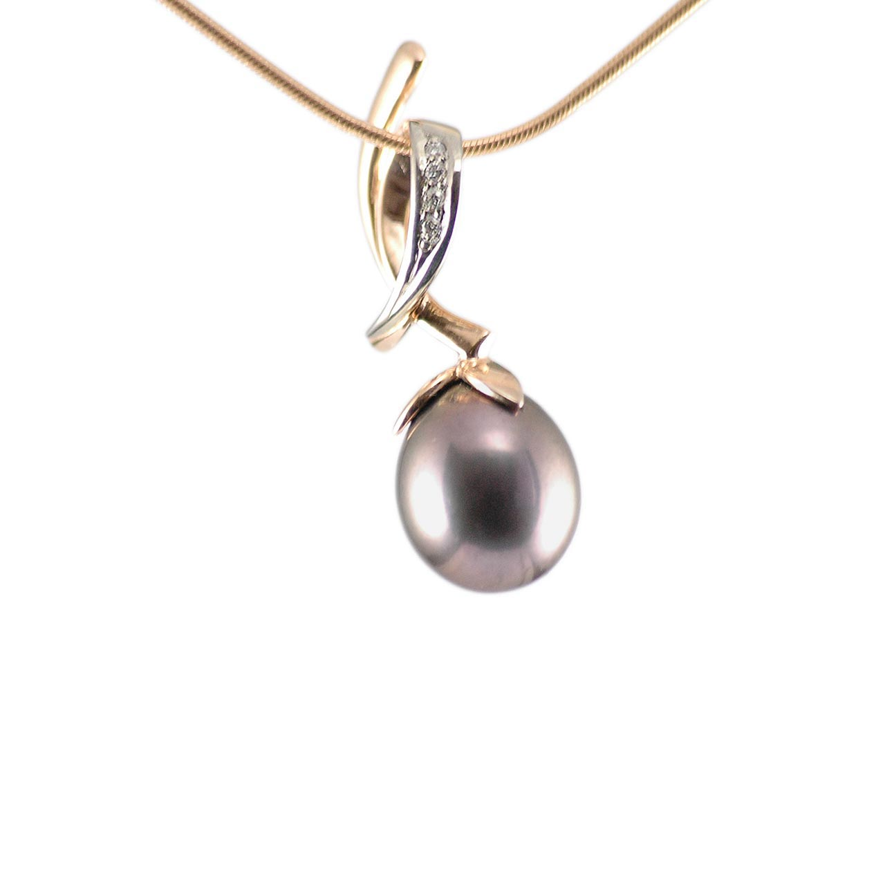 Dark Gray Pearl Diamond Pendant