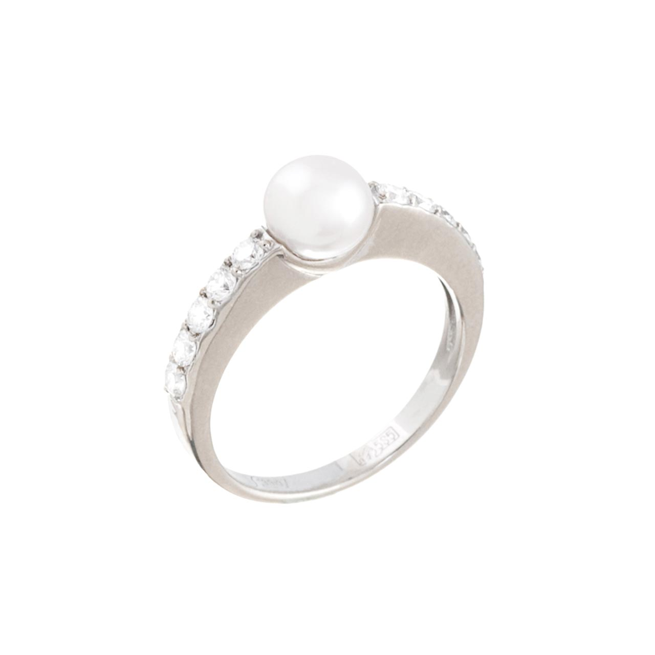Half Eternity Diamond Ring with White Pearl