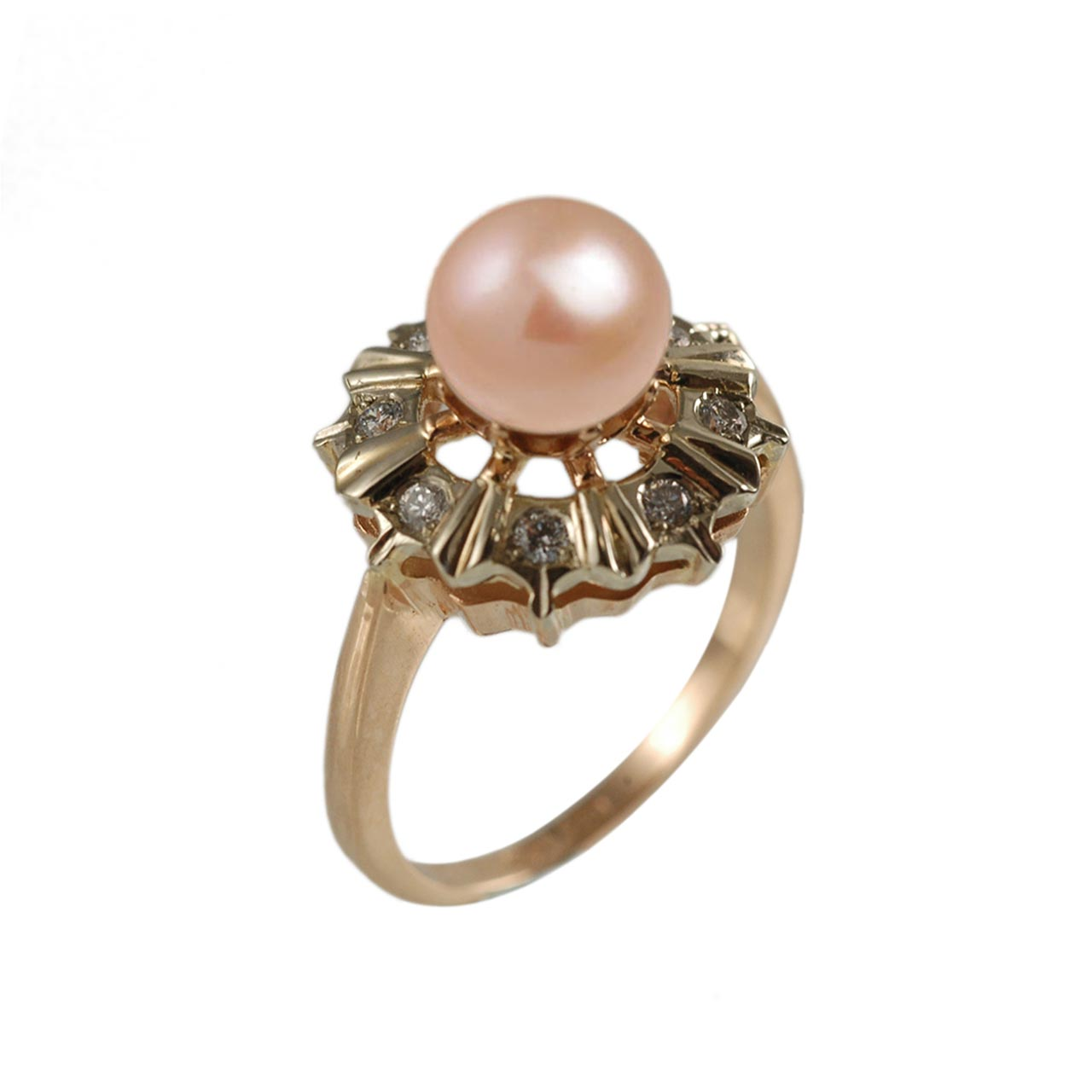 Pink pearl Faberge classic diamond ring 1