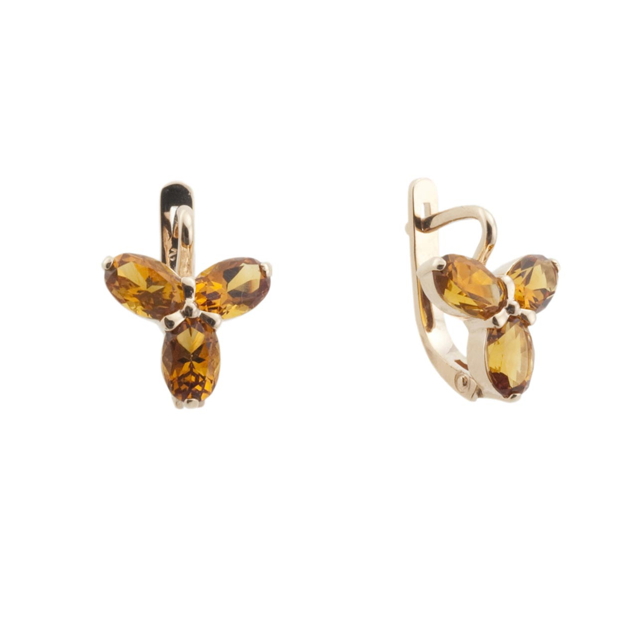 Citrine rose gold earrings 1