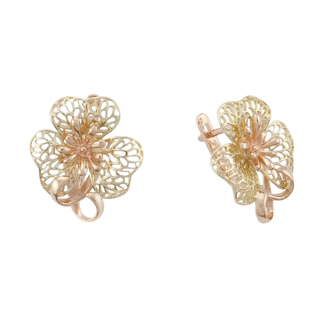Green and pink gold earrings 1