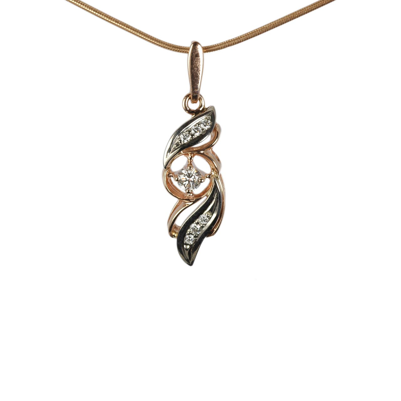 Rose and white gold pendant 1