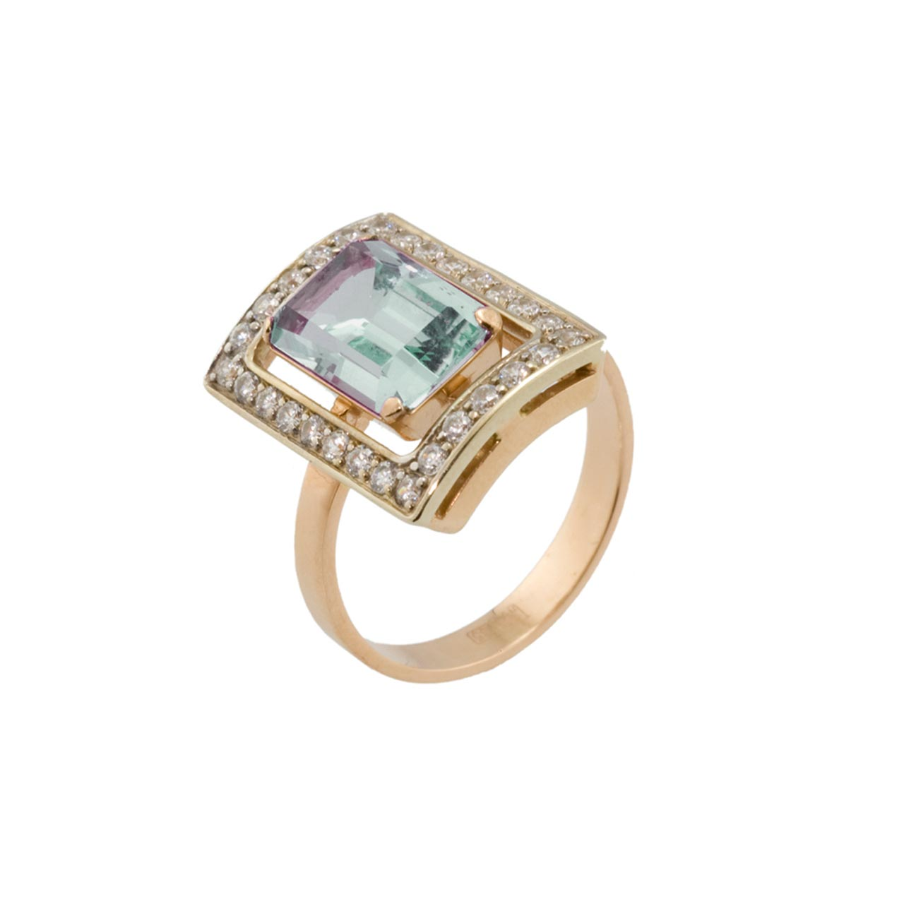 Lab created alexandrite and CZ Gold Ring