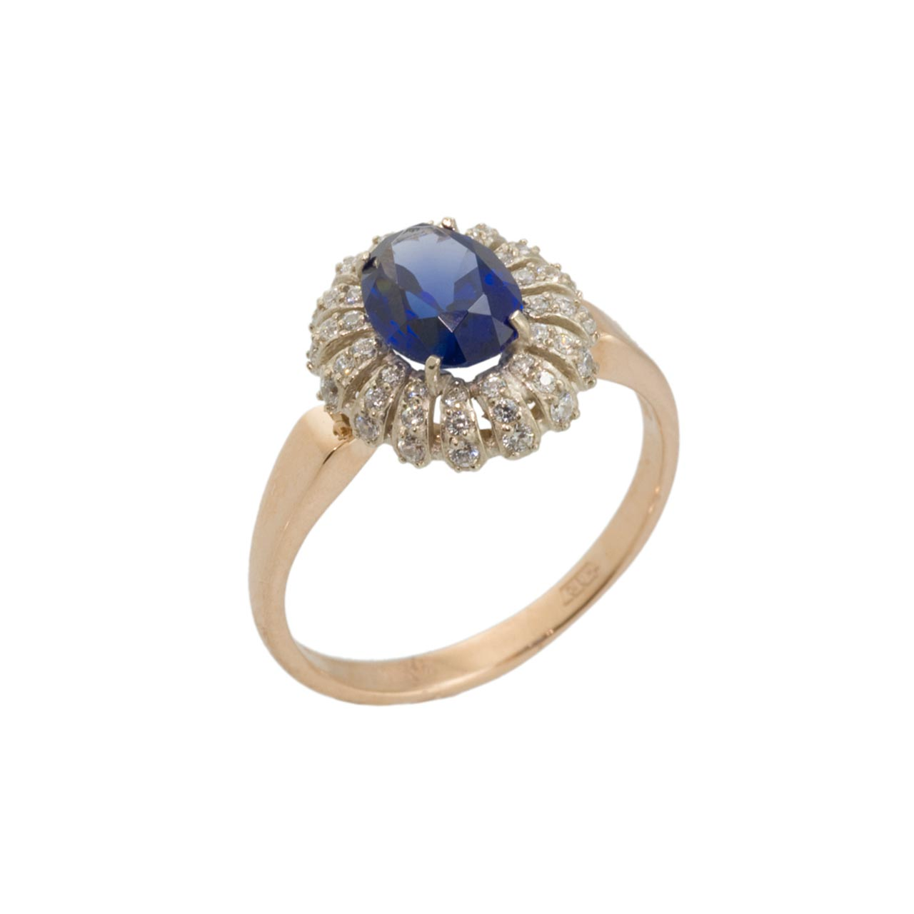 Sapphire & CZ  Rose and White Gold ring