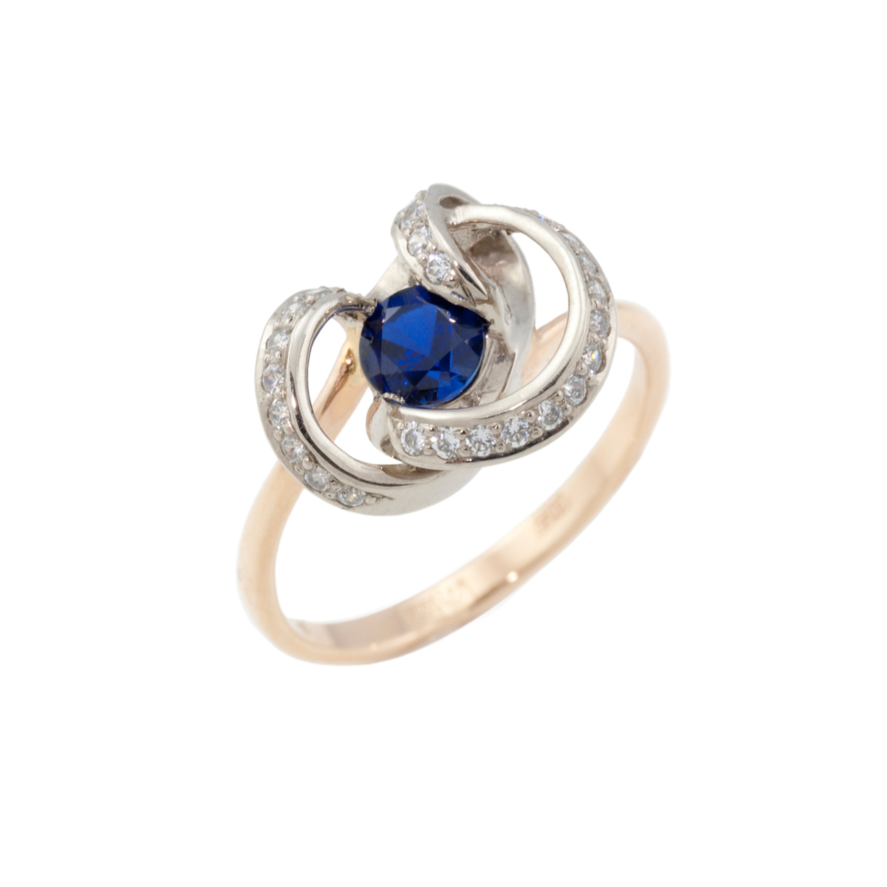 Two Tone Gold Ring with Lab-Created Sapphire
