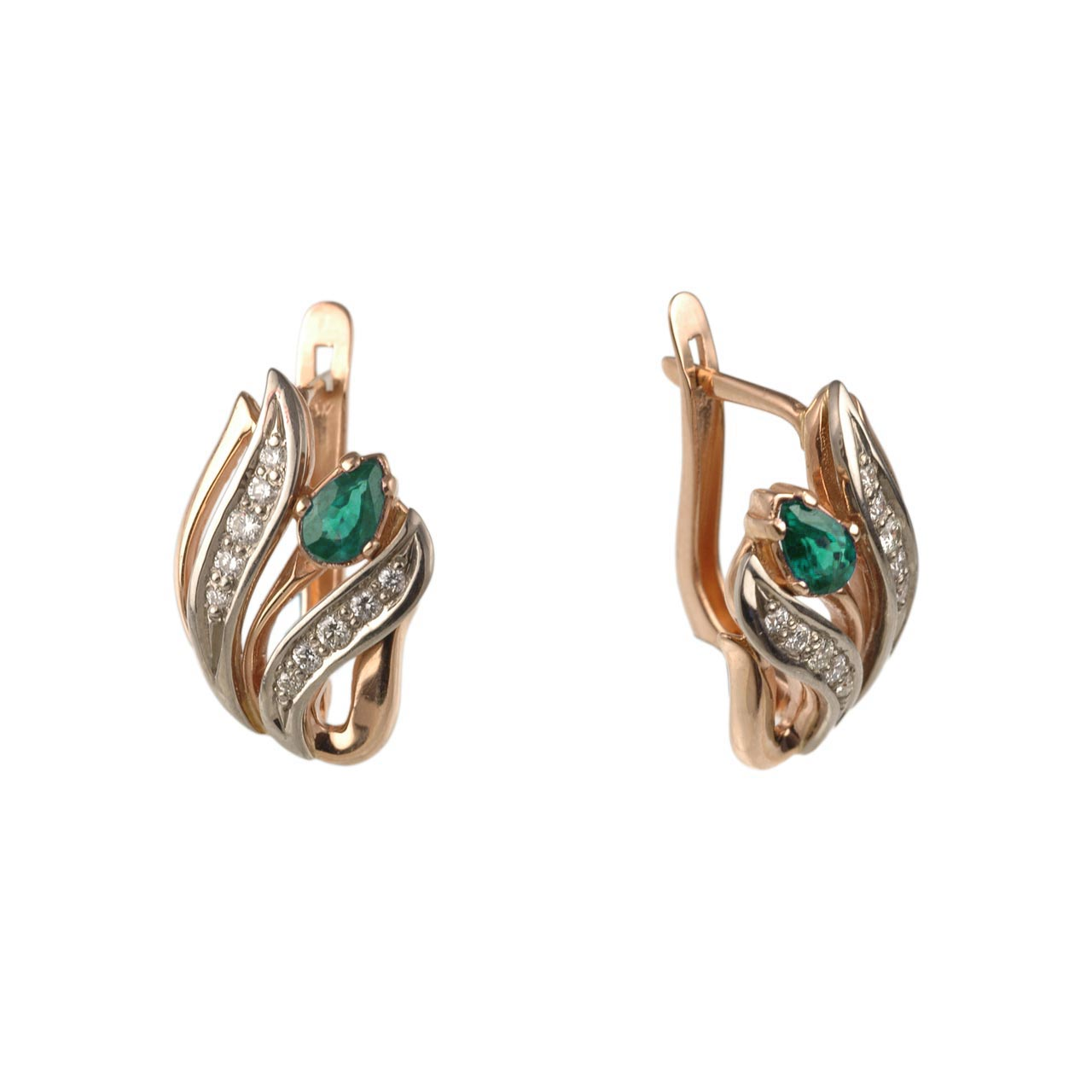 Gold Earrings with Lab Emeralds and CZ