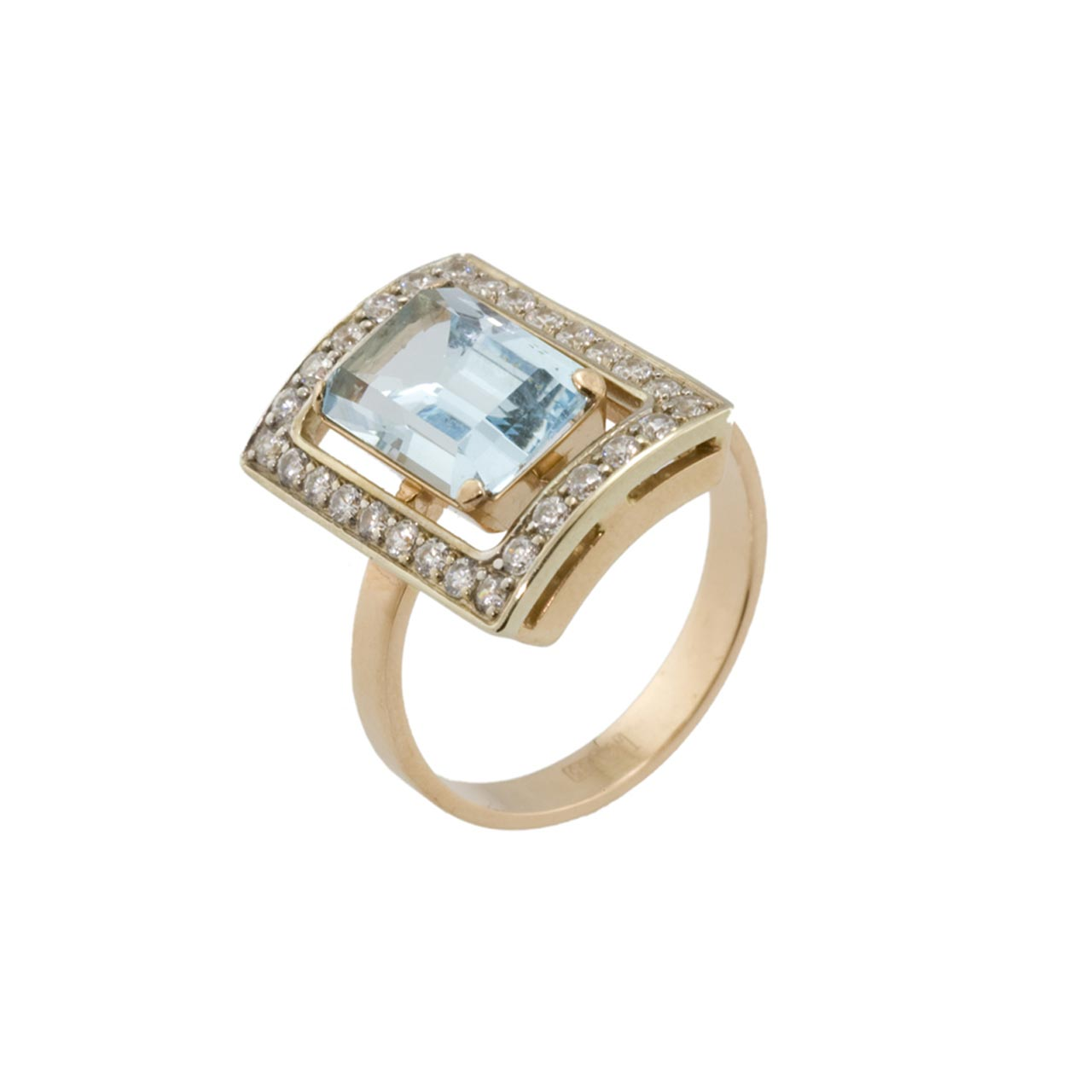 Faberge Style Blue Topaz Baguette Ring