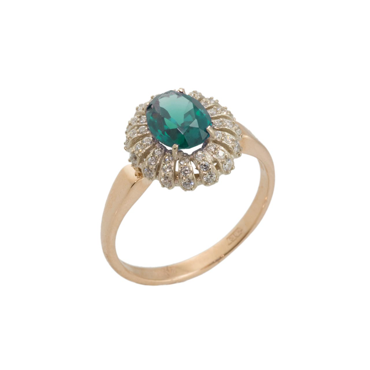 Two tone gold ring with lab emerald