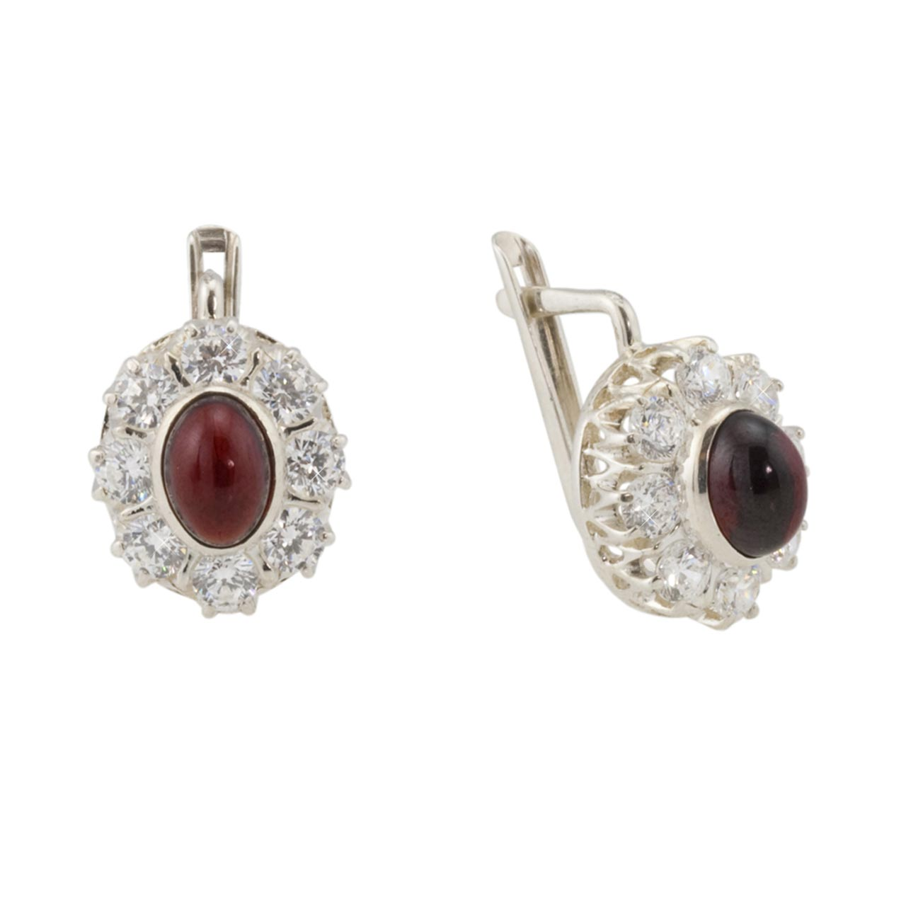 Halo Silver Earrings: A Garnet