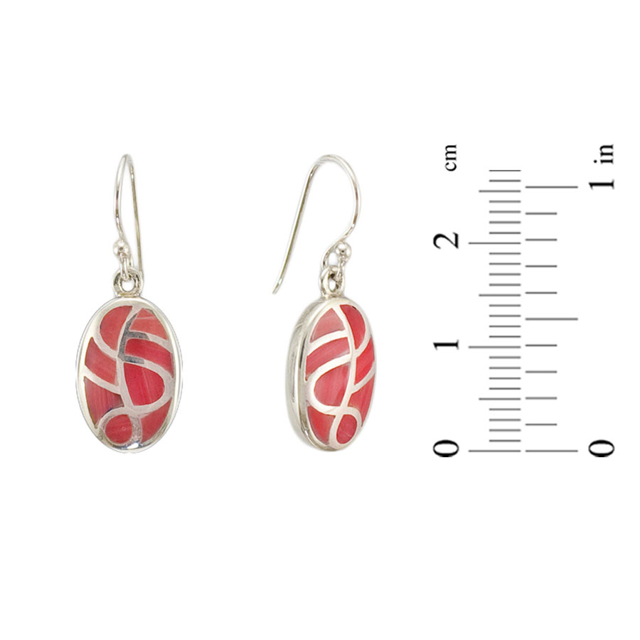 Smalti Filati coral silver earrings 1