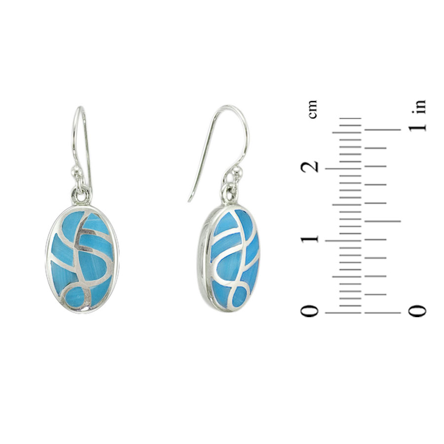 Micro mosaic turquoise silver earrings 1
