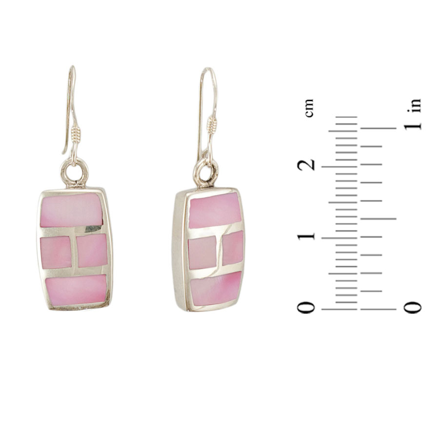 Micro mosaic pink mother-of-pearl earrings 1