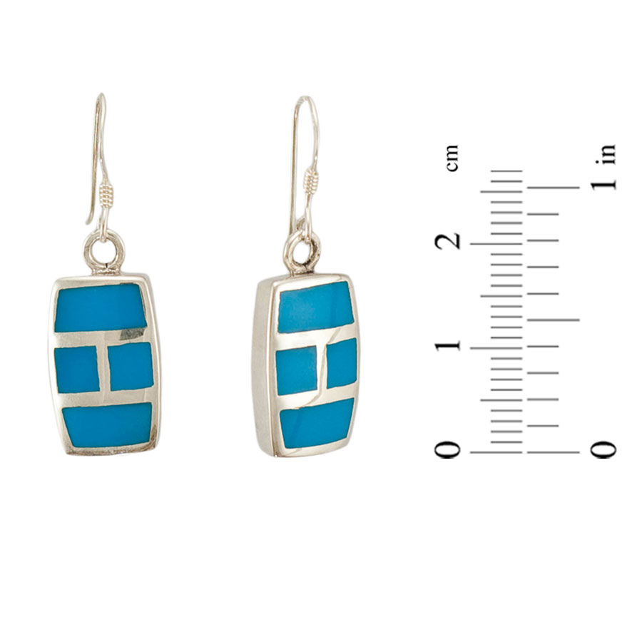 Turquoise rectangular earrings in New York 1