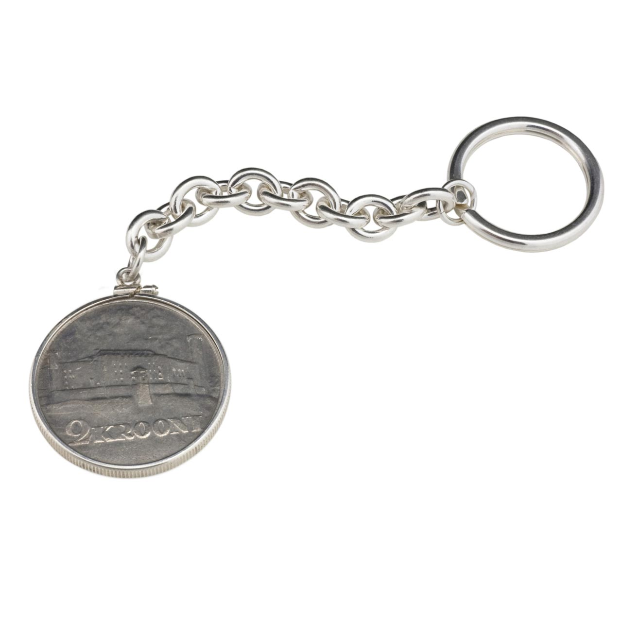 Key Chain With Silver Estonian 2 Krooni